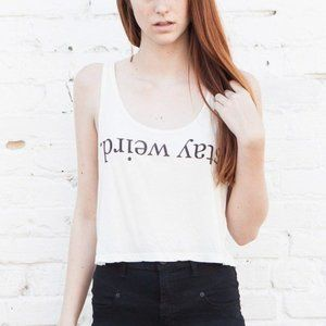 """Stay weird"" white cropped tank top"